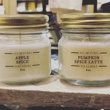 Hand Poured Soy Candles - Autumn Scents - with Essential Oils 8-oz
