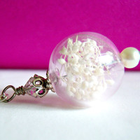 Hollow Lampwork  Bubble Bead Necklace With White Flowers