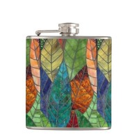 Stained Glass Leaves Flask