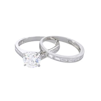 Sterling Silver 8mm Cubic Zirconia AAA Grade CZ Engagement Ring & Band Rhodium