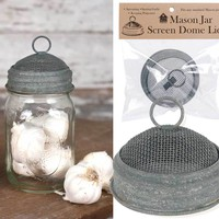 Set of 6 Mason Jar Screen Dome Lids - Barn Roof
