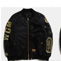 New Men's Black Shark Mouth Gold Thread Embroidery Thickening Cotton Clothing Jacket Ma1 Air Force Jacket Men's Casual Cardigan | Best Deal Online