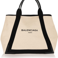 Balenciaga - Cabas M leather-trimmed canvas tote
