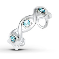 Crystal Toe Ring Sterling Silver