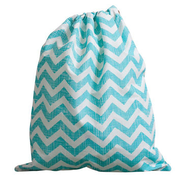 Give Bliss (Aqua Blue Chevron) Upcycled Drawstring Bag