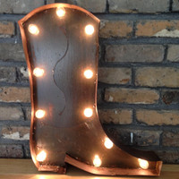 Sale price! Lighted Cowboy Boot Sign made from steel, rustic finish.For your ,man cave , western-themed parties. Custom