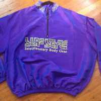 Vintage 80s 90s Surf Style Interplanetary Windbreaker Track Jacket Oversized Pullover Iridescence Purple and Old Gold Paisley Letters