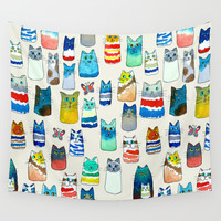 Lots of Watercolor Kitty Cats Wall Tapestry by TigaTiga Artworks