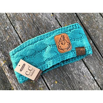 Sea Green Grinch Head Wrap Beanie Hat Tooled Leather Patch Hat