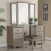 3 pc Fontaine antique champagne finish wood bedroom makeup vanity sitting table and mirror set