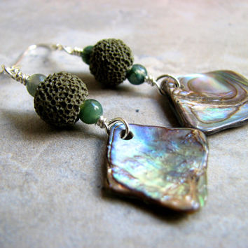 Iridescent Abalone Earrings, Earthy Green Lava Stone and Paua Shell Jewelry, Lightweight Dangle Earrings