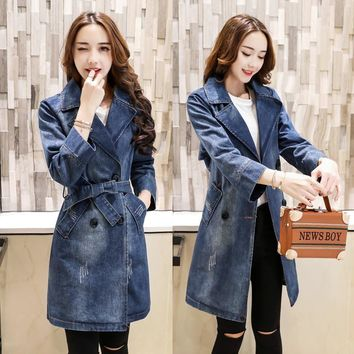 New 2017 spring fashion slim fit double breasted lapel denim trench coat for women with belt casaco feminino women's trench FY4