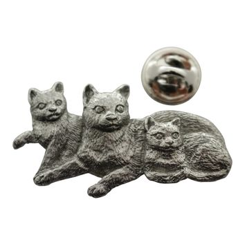 Cat with Kittens Pin ~ Antiqued Pewter ~ Lapel Pin