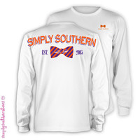 Simply Southern Est 2005 Orange Bow Girlie Bright Long Sleeve T Shirt