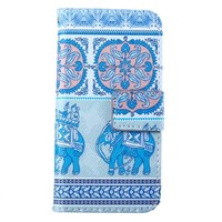 Iphone 6 Plus Case , Iphone 6 Plus Case, By Shimu Colorful Blue Elephant Cute Pattern ,Card Slots Stand Wallet PU Leather Case For Iphone 6 Plus 5.5 Case