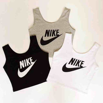 Nike style vest crop cami tank top black white and grey