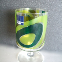 Vintage Glass Goblet Groovy Psychadelic Design Made By Leonardo 1970s
