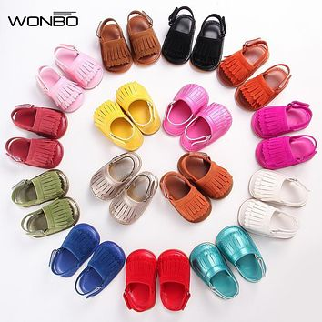 2018 new summer PU Leather rubber sole Baby moccasins Girls solid Baby Shoes Infant Toddler First Walkers Anti-slip Shoes