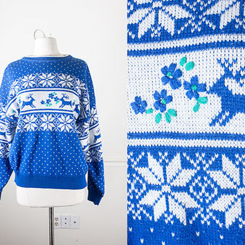 Vintage Snowflake Sweater / Tacky Xmas Top / Ugly Christmas Sweater / Reindeer Sweater / Novelty Jumper / 80s Sweater / Tacky Christmas Top