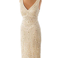 Beaded Embroidered Ivory Lace Curvy Party Dress #vintagestyledresses #cocktaildress #wedding #wiggledress