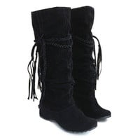 Women's Boots Concise Tassels and Pure Color Design FREE SHIPPING !!!