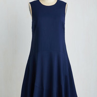 Long Sleeveless A-line Set the Date Dress in Dusk by ModCloth