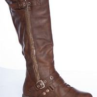 Forever Haute Harness Chapter-16 Buckled Mid Calf Gold Zipper Riding Boots - Brown