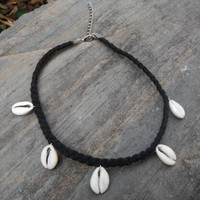 Handmade Shell and Leather Choker Women Necklace +Gift Box