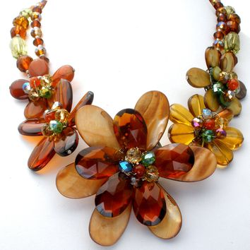 Large Wired Flower Bead Necklace Glass & MOP