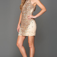 KC15808 Gold Jeweled Halter Cocktail Dress Amelia Collection by Kari Chang Couture