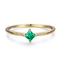 14K Yellow Gold Princess Natural Colombian Green Emerald Engagement Ring