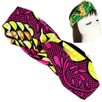 African Print Knotted Headwrap Turban