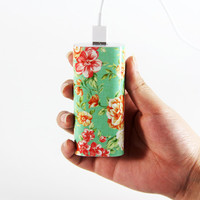 Classy Floral Portable Power Bank Charger for iPhone and Samsung