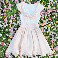 J-fashion Sweet Sailor Collar Knotbow Lace High-Waisted JSK Dress Free Shipping SP140521 from SpreePicky