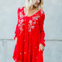 Free People Sweet Tennessee Dress - Red Combo