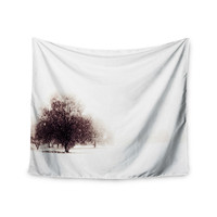 """Sylvia Coomes """"Winter Landscape"""" Maroon White Wall Tapestry"""