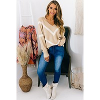 Make Your Point V-Neck Sweater (Taupe/Cream)