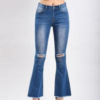 New Light Blue Buttons Cut Out Distressed Casual High Waisted Bell Bottomed Flares Long Jean
