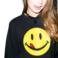 Petals and Peacocks Lickity Split Crop Sweatshirt Black