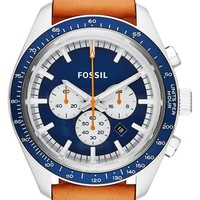 Men's Fossil 'Edition Sport' Chronograph Leather Strap Watch, 45mm