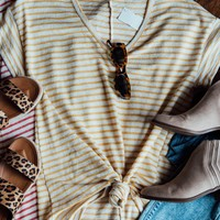 Striped V-Neck Top, Mustard
