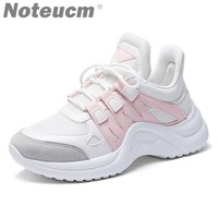 2018 brand Female High heel Platform Sneakers White basket femme lady thick sole chunky shoes women Trainers Wedge kanye ulzzang