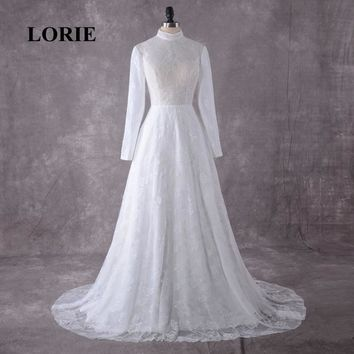LORIE Wedding Dress Long Sleeve High Neck Lace Arabic Muslim Wedding Gowns With a Small Train Free Shipping Bridal Gown 2019