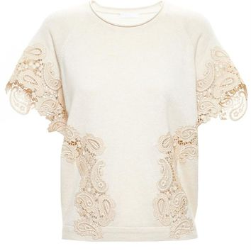 Cashmere and Lace Top - CHLOÉ