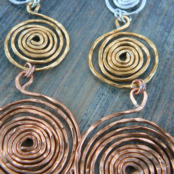 hoop earrings ,tribal spiral earrings ,statement earrings, hammered earrings