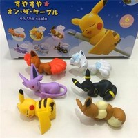 6pieces/set on the cable Or Teacup figures pkchu anime action toy figures model toy Car decoration toy  esKawaii Pokemon go  AT_89_9