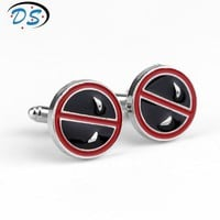 Deadpool Dead pool Taco DC Comic Marvel  Cufflinks for Men's Shirt Movie Jewelry Cuff Links Metal Round Cuff Buttons Pins Unisex Gifts AT_70_6