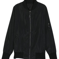 Black Zip Up Long Sleeve Bomber Jacket