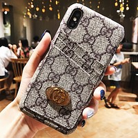 LV Louis Vuitton & GUCCI New fashion monogram more letter leather couple card protective cover phone case