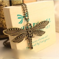 Vintage Antique Brass Dragonfly Pendant Long Chain Necklace at Online Cheap Vintage Jewelry Store Gofavor